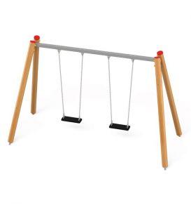 31206 Huśtawka podwójna drewniana, metalowa belka